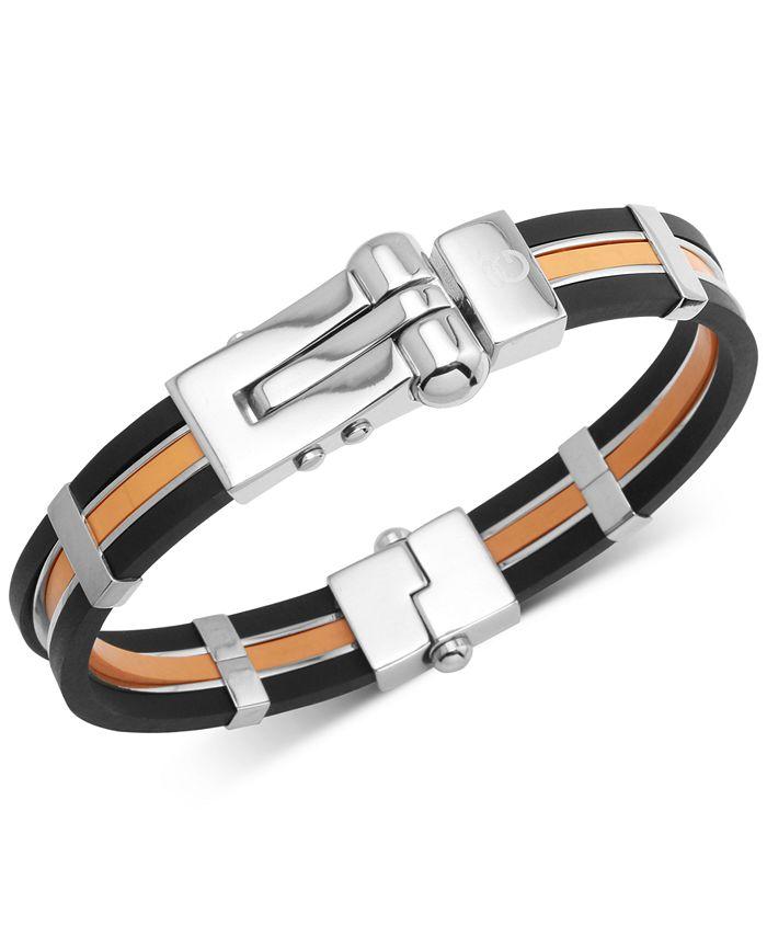 Macy's - Men's Orange & Black Vulcanized Rubber Bracelet in Stainless Steel