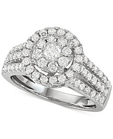 Diamond Halo Cluster Engagement Ring (1-1/2 ct. t.w.) in 14k White Gold