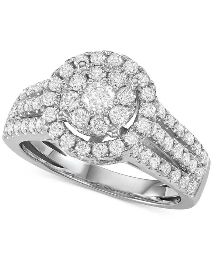 Centennial - Diamond Halo Cluster Engagement Ring (1-1/2 ct. t.w.) in 14k White Gold