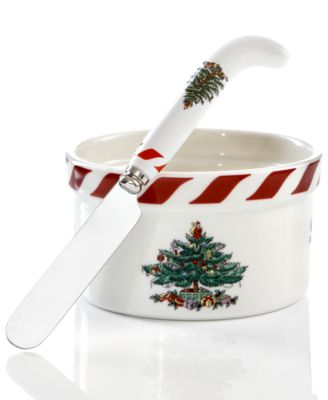 Spode Dinnerware, Christmas Tree Peppermint Dip Set
