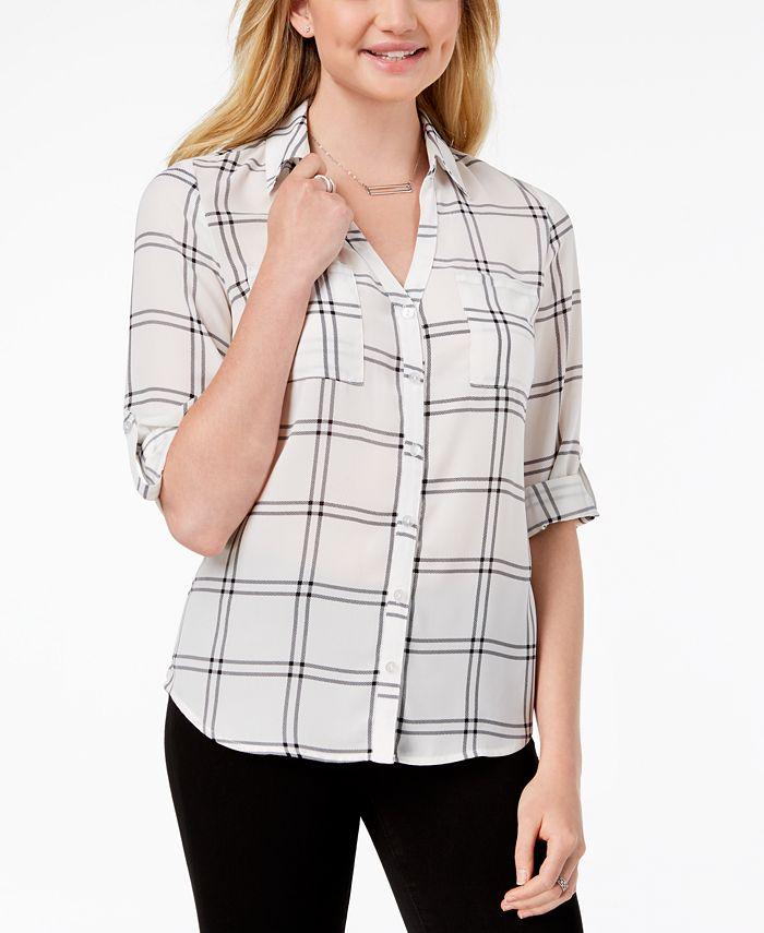 BCX - Juniors' Roll-Tab-Sleeve Windowpane-Print Shirt