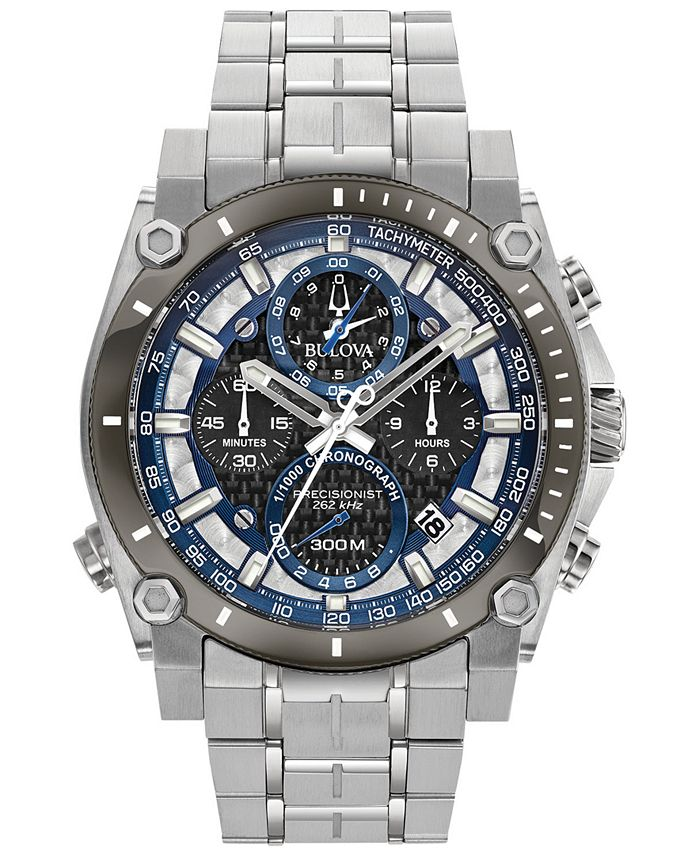 Bulova - Men's Chronograph Precisionist Stainless Steel Bracelet Watch 46.5mm