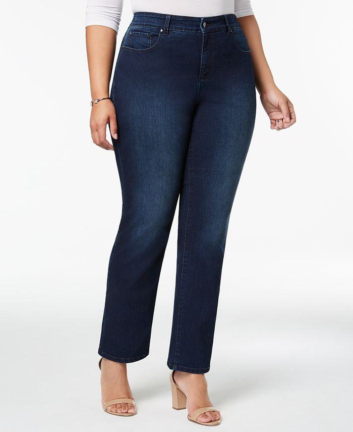 Charter Club - Plus Size Tummy-Control Straight-Leg Jeans, Saturated Black Wash