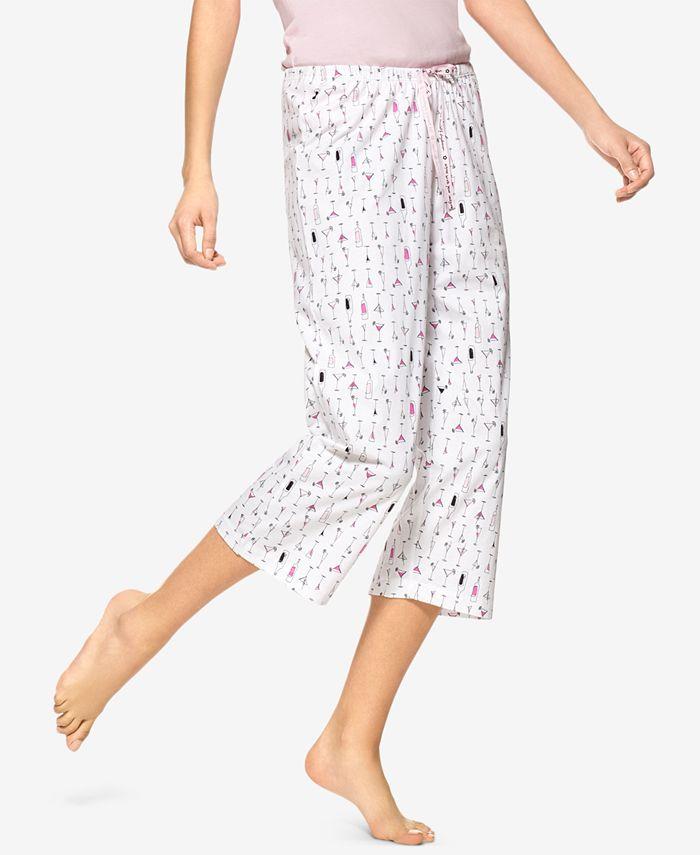 Hue - Martini-Print Cotton Capri Pajama Pants