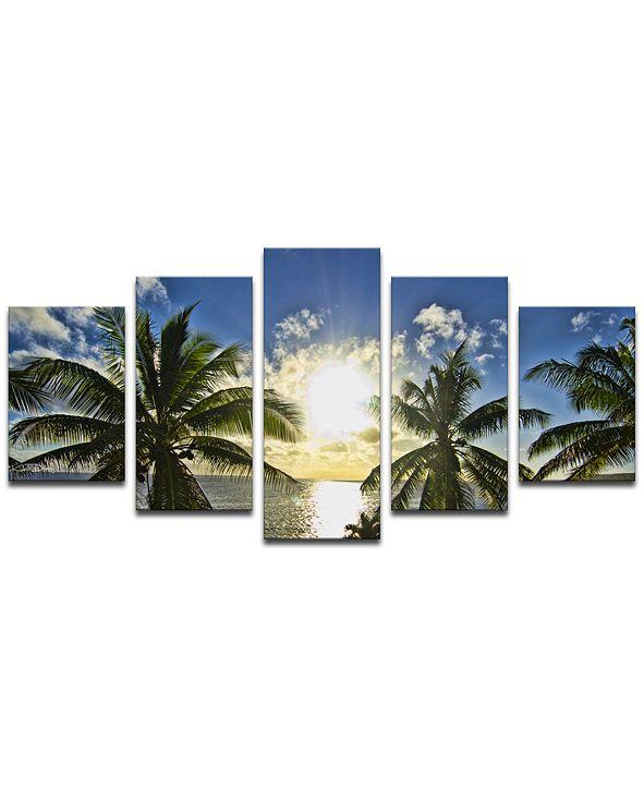 "Ready2HangArt Niue Palms Sunset 5 Piece Wrapped Canvas Coastal Wall Art Set, 30"" x 60"""