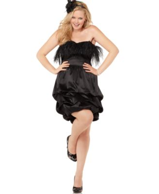 Ruby Rox Plus Size Dress, Strapless Feathered Ruffled Empire