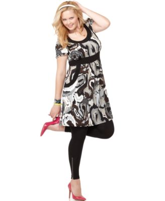 Love Squared Plus Size Dress, Short Sleeve Printed Empire