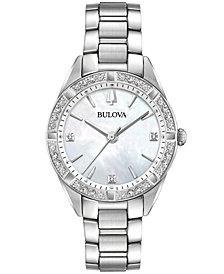 Bulova Women's Sutton Diamond (1/10 ct. t.w.) Stainless Steel Bracelet Watch 32.5mm