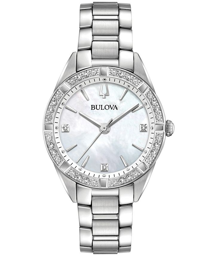 Bulova - Women's Sutton Diamond (1/10 ct. t.w.) Stainless Steel Bracelet Watch 32.5mm