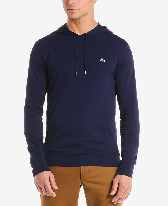 Lacoste Hoodie Jersey Long Sleeve Tee Shirt with Kangaroo Pocket