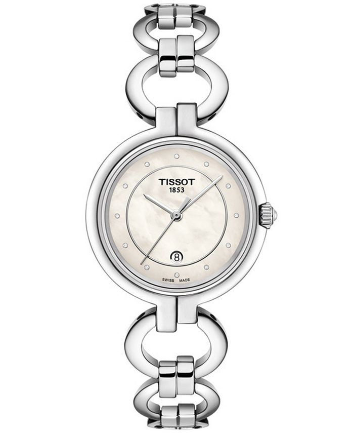 Tissot - Women's Swiss T-Lady Flamingo Diamond-Accent Gray Stainless Steel Bracelet Watch 26mm