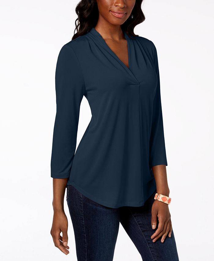 Charter Club - Petite Pleat-Neck 3/4-Sleeve Top, Created for Macy's