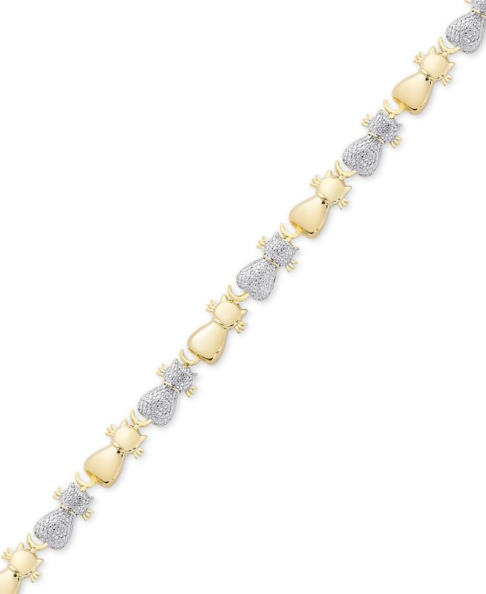 Macy's Diamond Accent Two-Tone Cat Link Bracelet in Sterling Silver-Plate & 18k Gold over Silver-Plate & Reviews - Bracelets - Jewelry & Watches - Macy's