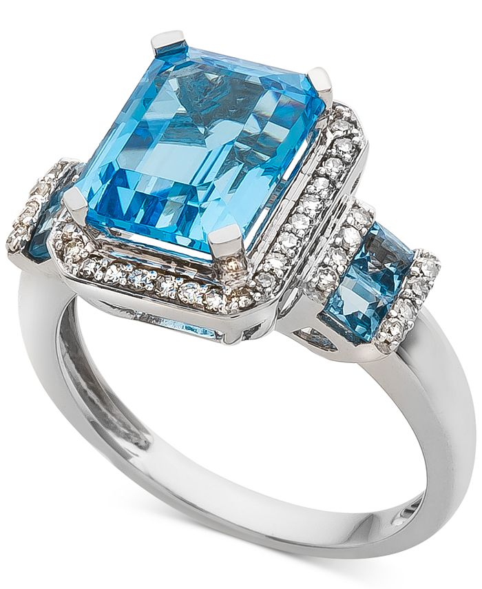 Macy's - Blue Topaz (4-1/3 ct. t.w.) & Diamond (1/4 ct. t.w.) in 14k White Gold