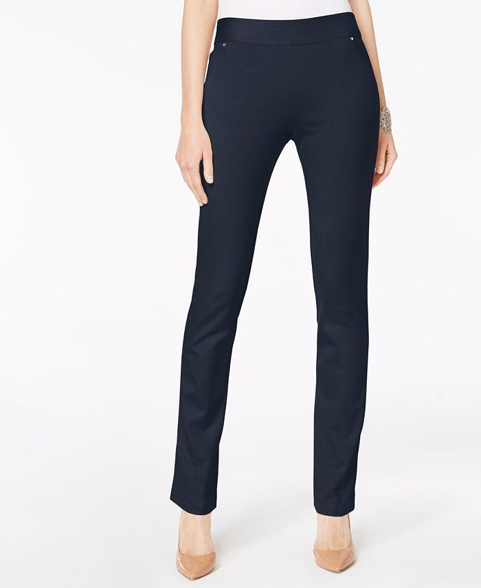 INC International Concepts - Curvy-Fit Pull-On Straight-Leg Pants