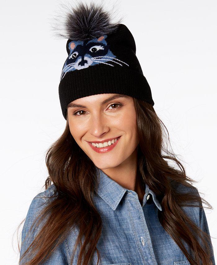 kate spade new york - Wool & Faux-Fur Raccoon Beanie