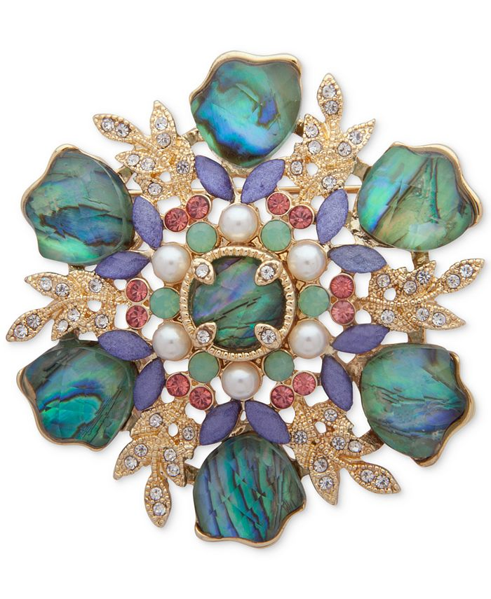 Anne Klein - Gold-Tone Multi-Stone & Imitation Pearl Cluster Pin