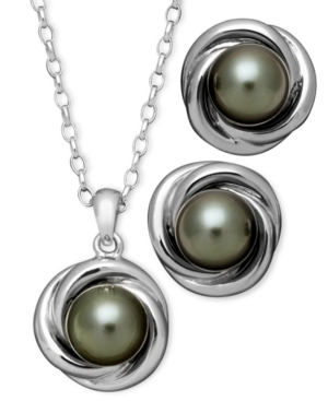 Pearl Jewelry Set, Sterling Silver Cultured Tahitian Freshwater Pearl Love Knot Stud Earrings and Pendant Set