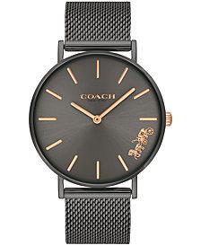 COACH Women's Perry Gray Stainless Steel Mesh Bracelet Watch 36mm