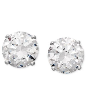 14k White Gold Earrings, Swarovski Zirconia Round Stud Earrings (6-5/8 ct. t.w.)