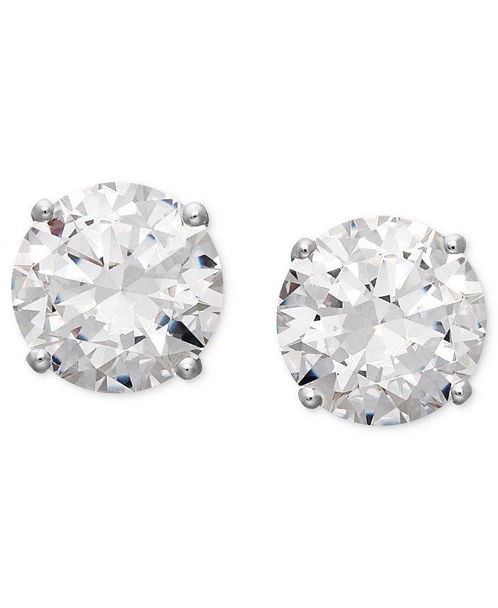 Arabella - 14k White Gold Earrings, Swarovski Zirconia Round Stud Earrings (6-5/8 ct. t.w.)