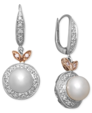 Belle de Mer Pearl Earrings, 14k White and Rose Gold Diamond (1/5 ct. t.w.) and Pink Sapphire Accent Earrings