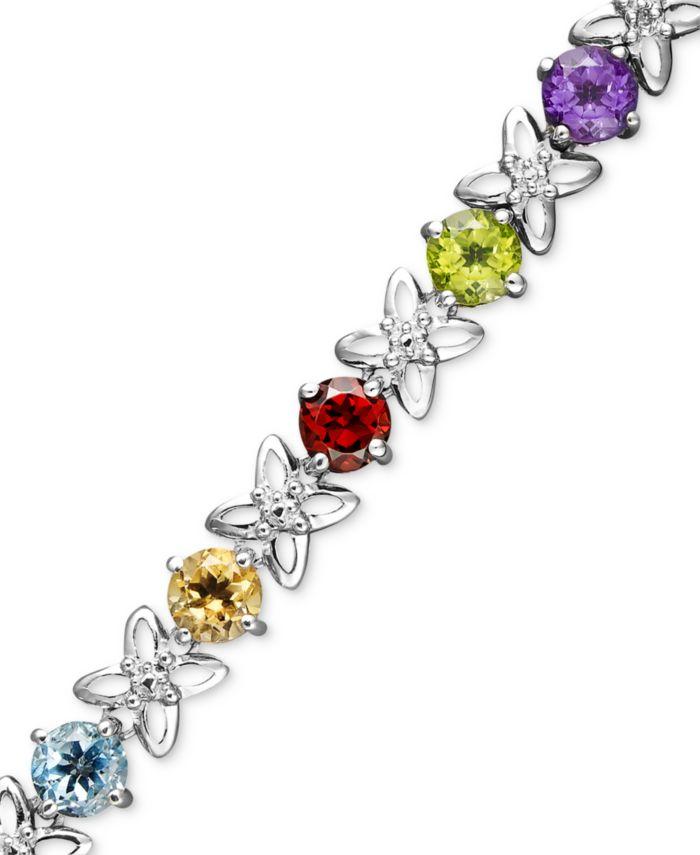 Macy's Sterling Silver Bracelet, Multistone and Diamond Accent Flower Bracelet & Reviews - Bracelets - Jewelry & Watches - Macy's