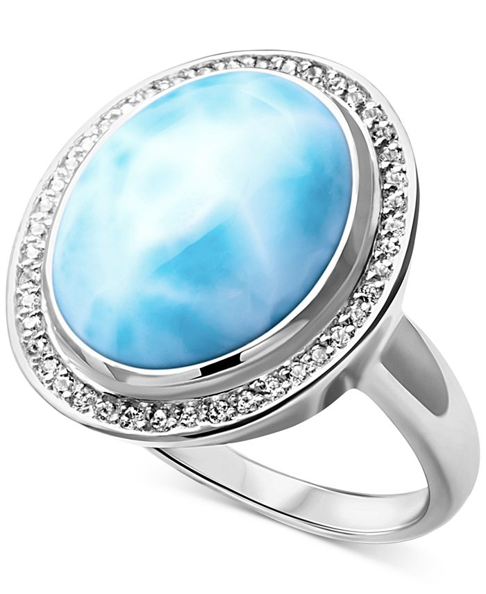 Marahlago - Larimar & White Sapphire (1/5 ct. t.w.) Ring in Sterling Silver