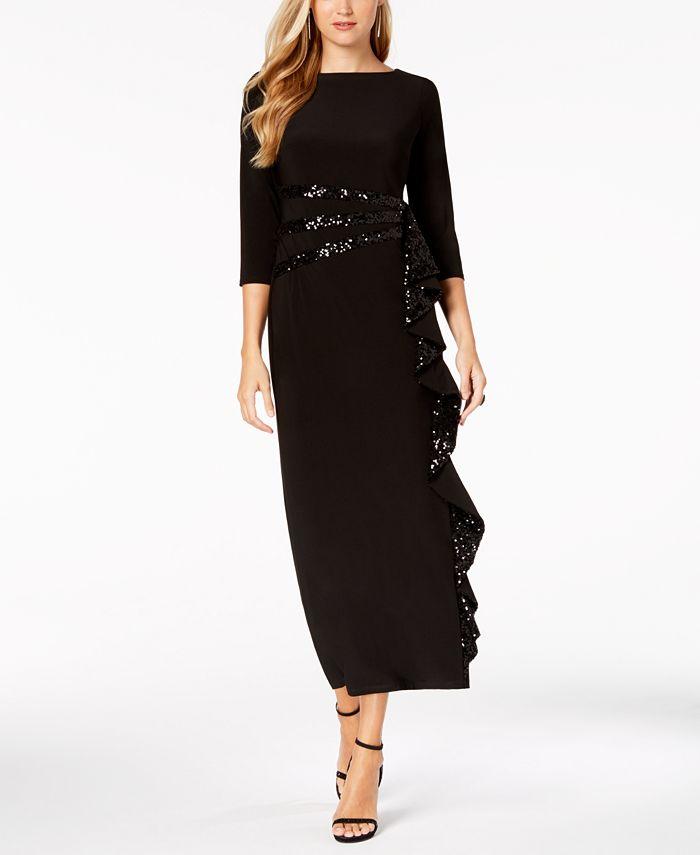 R & M Richards - Cascading Sequin-Embellished Dress