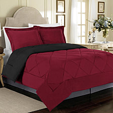 All Season Peach Skin Reversible King Bedding Comforter Set