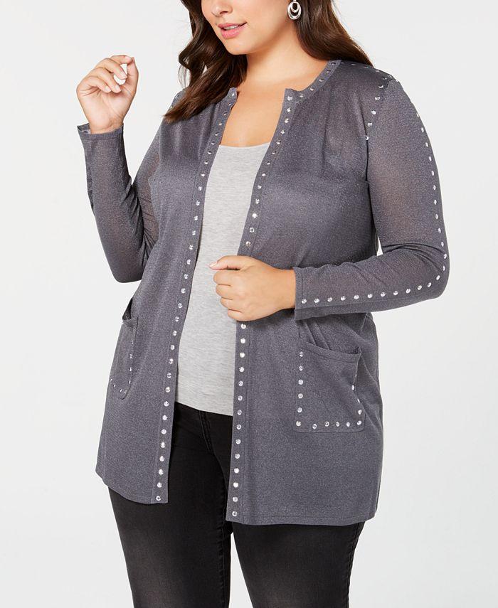 Belldini - Plus Size Sheer Studded Long Cardigan