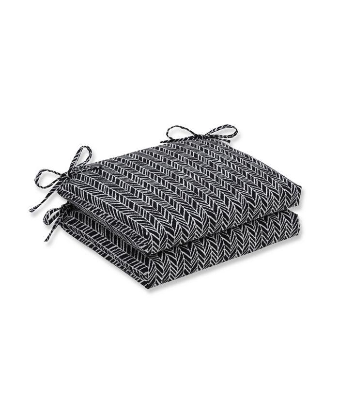 Pillow Perfect - Herringbone Night Squared Corners Seat Cushion (Set of 2)