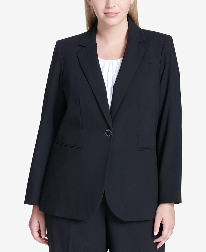 Calvin Klein - Plus Size One-Button Blazer