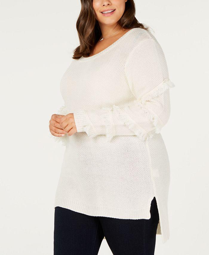 One A - Plus Size Fringed-Sleeve Tunic Sweater