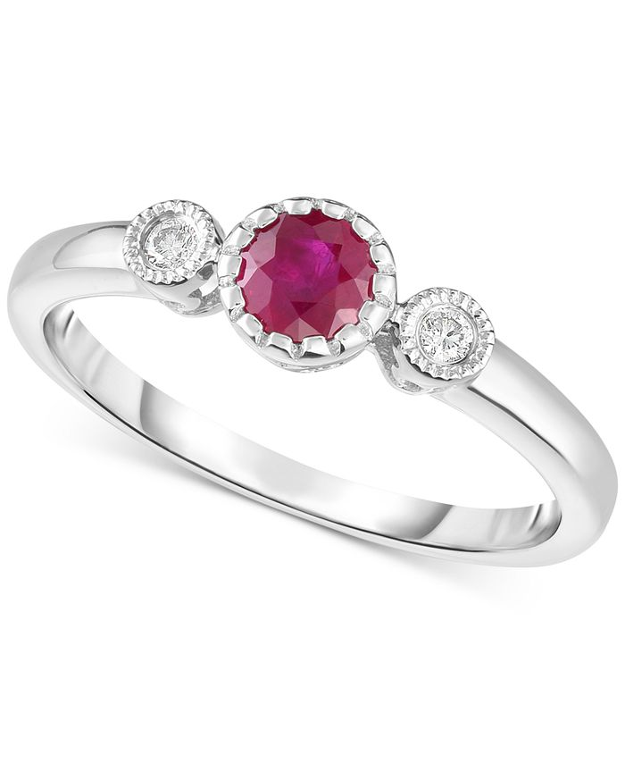 Macy's - Ruby (3/8 ct. t.w.) & Diamond Accent Ring in 14k White Gold