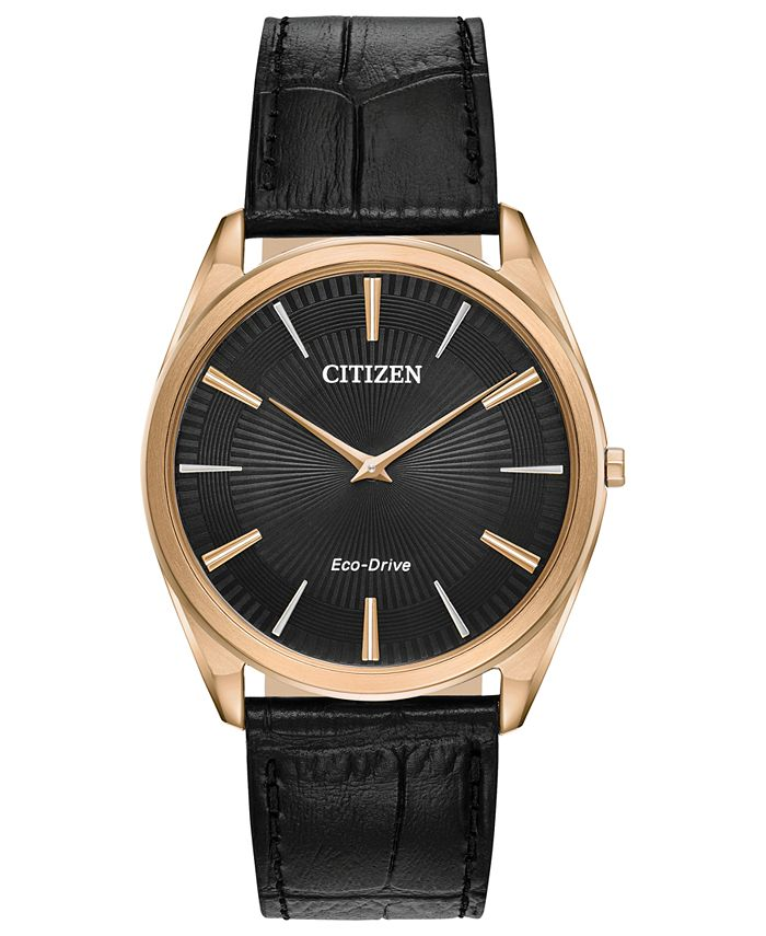 Citizen - Men's Stiletto Black Leather Strap Watch 38mm