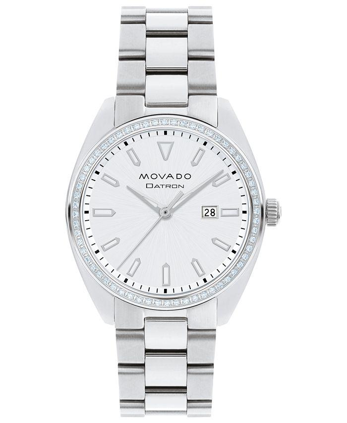 Movado - Women's Swiss Heritage Series Datron Diamond (1/4 ct. t.w.) Stainless Steel Bracelet Watch 31mm