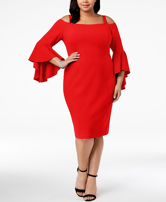 R & M Richards - Plus Size Off-The-Shoulder Flared-Sleeve Dress