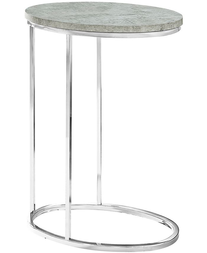Monarch Specialties - Accent Table - Oval Grey Cement With Chrome Metal