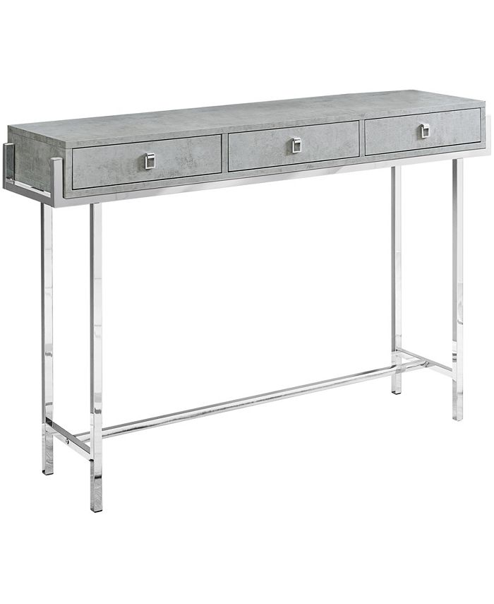 """Monarch Specialties - Accent Table - 48""""L Grey Cement Chrome Metal"""