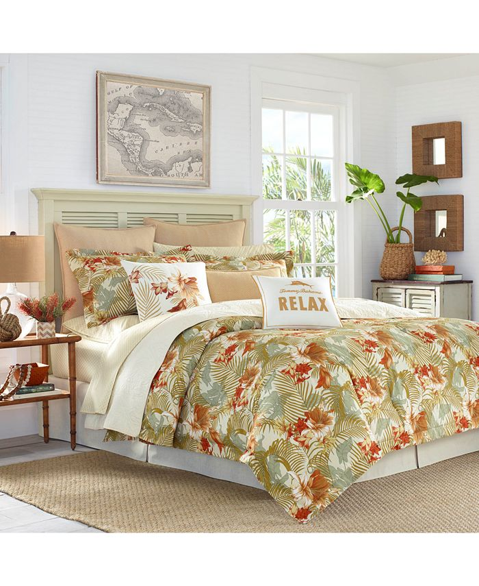 Tommy Bahama Home - Loredo Gardens 4-Pc. Medium Orange Queen Comforter Set
