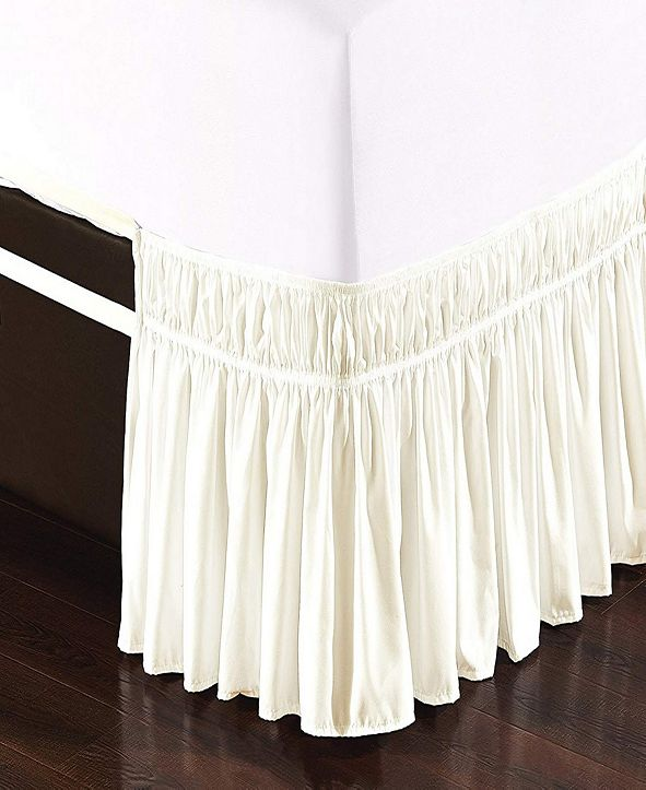 De Moocci Wrap Around Bed Skirt, Elastic Dust Ruffle Easy Fit, Wrinkle and Fade Resistant - Twin/King