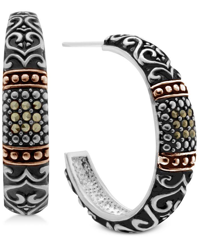 Macy's - Marcasite Two-Tone Scroll Design Hoop Earrings