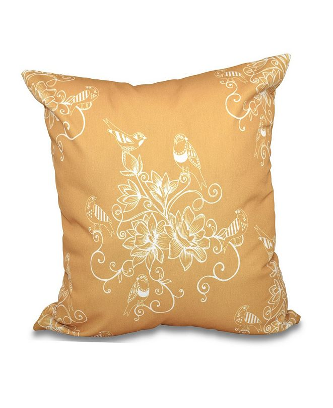 E by Design Morning Birds 16 Inch Gold Decorative Floral Throw Pillow
