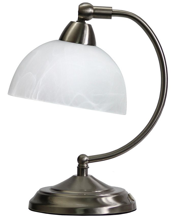 All The Rages - Mini Modern Bankers Desk Lamp with Touch Dimmer Control Base Brushed Nickel