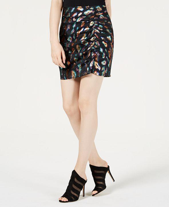 GUESS Animal-Print Mini Skirt