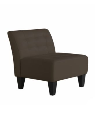 Orso Leather Armless Living Room Chair - Furniture - Macy\'s