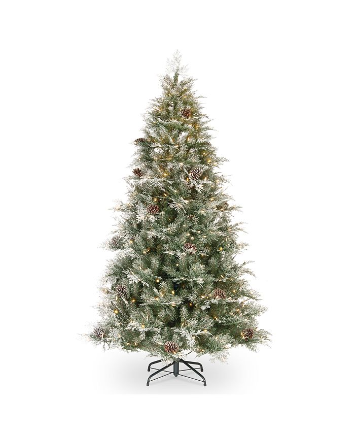 National Tree Company - National Tree 7 .5' Feel Real  Frosted Mountain Spruce Hinged Tree with Cones & 750 Clear Lights+ PowerConnect™