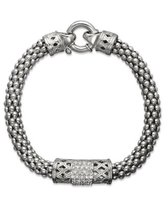 Diamond Bracelet Sterling Silver Diamond Barrel Bracelet 1 4 ct