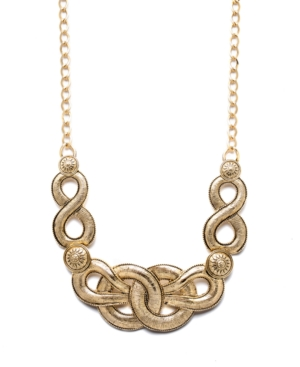 Style&co. Necklace, Gold Tone Braided Frontal Necklace